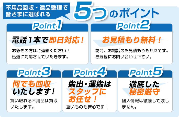 不用品回収・遺品整理で皆さまに選ばれる5つのポイント|Point1 電話1本で即日対応!|Point2 お見積もり無料!|Point3 何でも回収いたします!|Point4 搬出・運搬はスタッフにお任せ!|Point5 徹底した秘密厳守